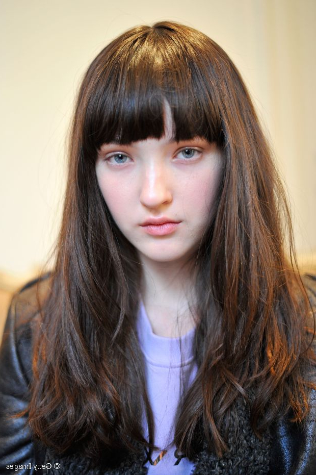 Long Hairstyle Ideas: Blunt Cut With Bangs Inside Blunt Cut Long Hairstyles (View 14 of 25)