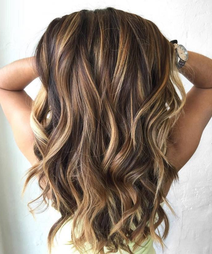 Long Hairstyles With Highlights & Lowlights Of Light Brown & Black Color With Regard To Long Hairstyles Highlights And Lowlights (View 16 of 25)