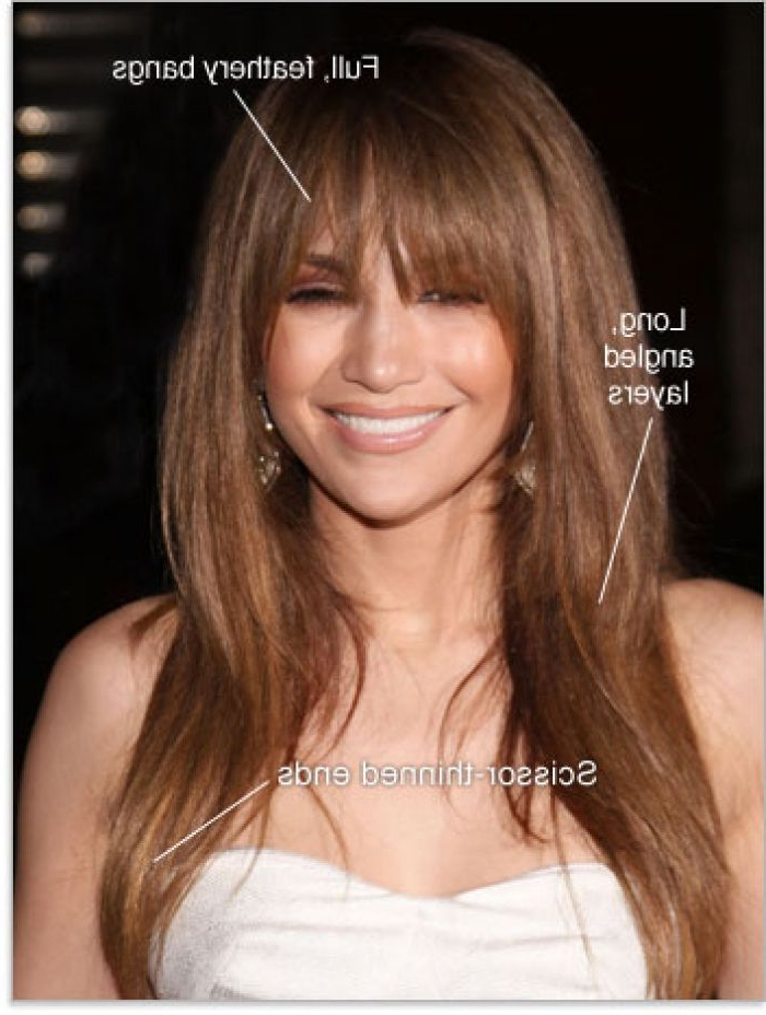 Long Hairstyles With Side Bangs | Bangs Hair Long Angled Layers Intended For Full Fringe Long Hairstyles (View 5 of 25)