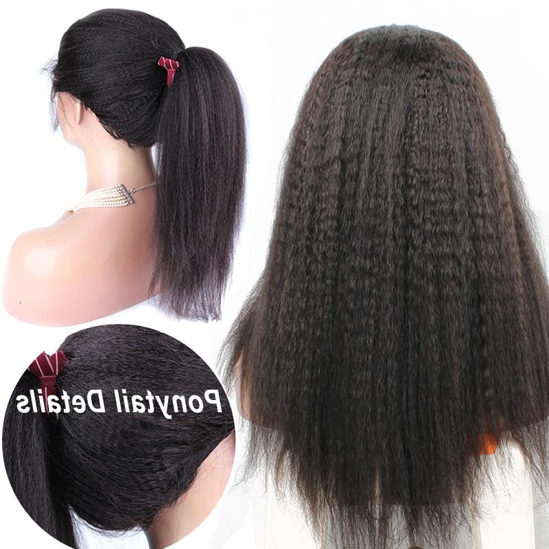 Long Kinky Straight Yaki Hairstyles Virgin Human Hair Lace Front Within Long Virgin Hairstyles (View 24 of 25)