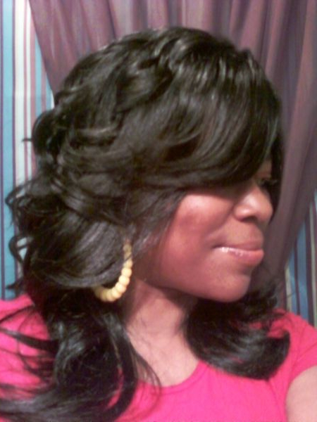 Long Layered And Feathered Wig Hairstyle For Black Women | Chic Hair Within Black Long Layered Hairstyles (View 19 of 25)