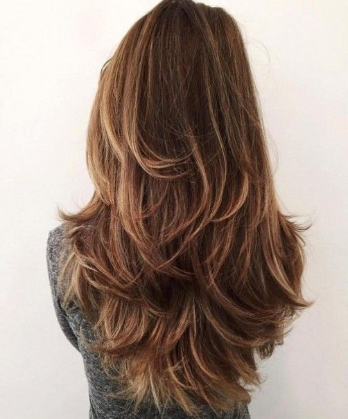 Long Layered Hairstyles In Diffrent Style Like V Shaped End Curls Throughout Long Layered Brunette Hairstyles With Curled Ends (View 2 of 25)