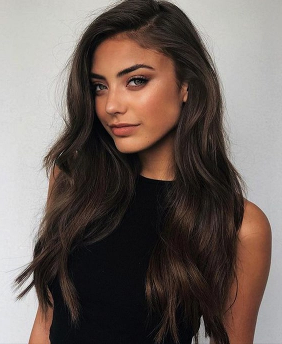 Long Layered Wavy Hair Brunette Hairstyles 2019 Min   Ecemella For Brunette Long Hairstyles (View 23 of 25)