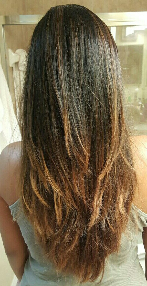 Long Layers V Cut Bayalage Ombre Hairstyle | Hair Cuts | Long Hair V Regarding Layered Ombre For Long Hairstyles (View 8 of 25)