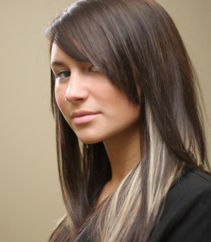 Long Straight Hairstyles: Peekaboo Hair Highlights – Popular Haircuts For Highlighted Long Hairstyles (View 11 of 25)