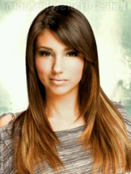 Long, Straight, Layered, Brown And Caramel Ombre Hair With Side In Long Hairstyles With Side Swept Bangs And Layers (View 8 of 25)