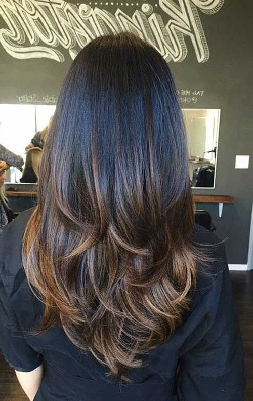 Long Straight Thick Dark Chocolate Brown Hair With Layers And Milk Within Black Long Layered Hairstyles (View 16 of 25)