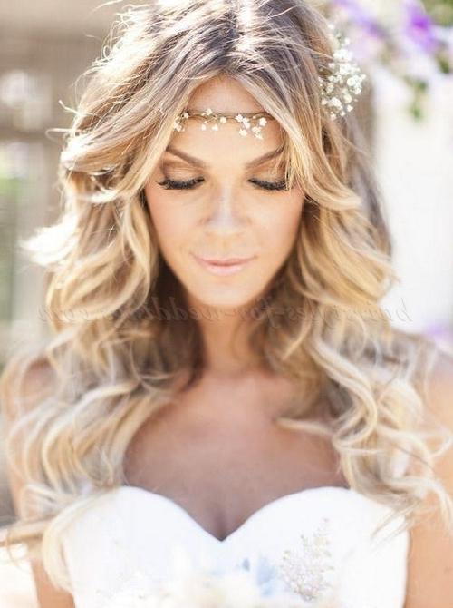 Long Wedding Hairstyles – Hair Down Bridal Hairstyle With Forehead For Long Hairstyles For Weddings Hair Down (View 11 of 25)