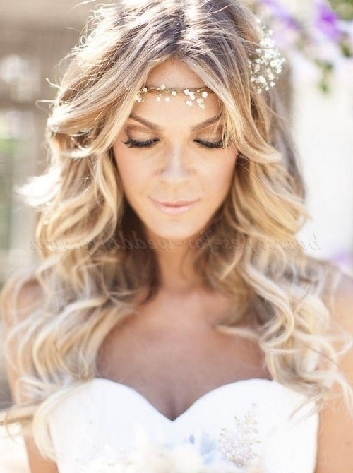 Long Wedding Hairstyles – Hair Down Bridal Hairstyle With Forehead Regarding Long Hairstyles Down For Wedding (View 9 of 25)