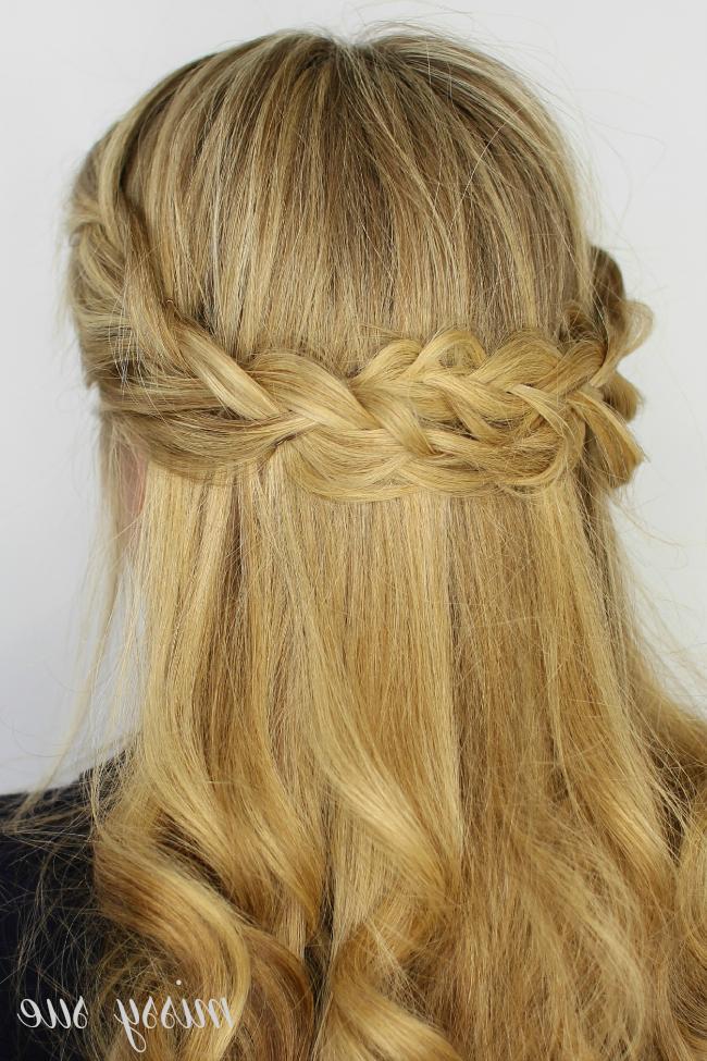 Looped Half Up Crown Braid Regarding Double Crown Braid Prom Hairstyles (View 21 of 25)