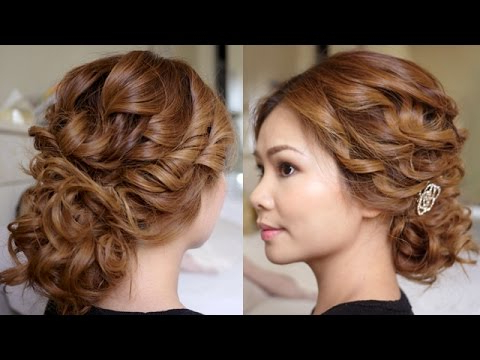 Low Bridal Tousled Updo Hair Tutorial – Youtube With Regard To Tousled Prom Updos For Long Hair (View 14 of 25)