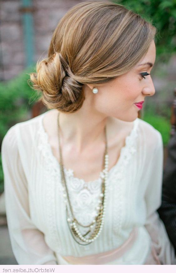 Low Side Bun For The Bride, Love Her Make Up Too | Street Swag In Spirals Side Bun Prom Hairstyles (View 3 of 25)
