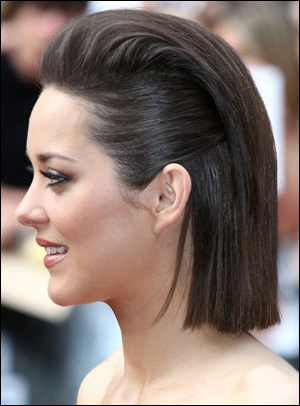 Marion Cotillard's Pulled Back Straight Bob Hairstyle Pertaining To Long Hairstyles Pulled Back (View 21 of 25)