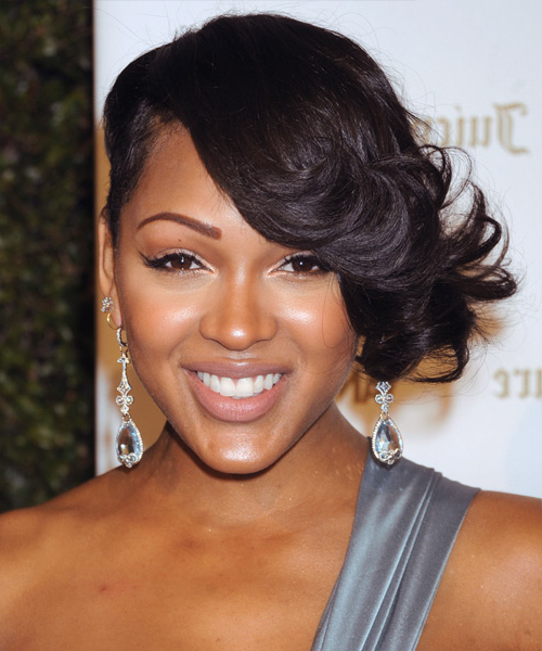 Meagan Good Formal Short Wavy Hairstyle – Black Hair Color Throughout Meagan Good Long Hairstyles (View 17 of 25)