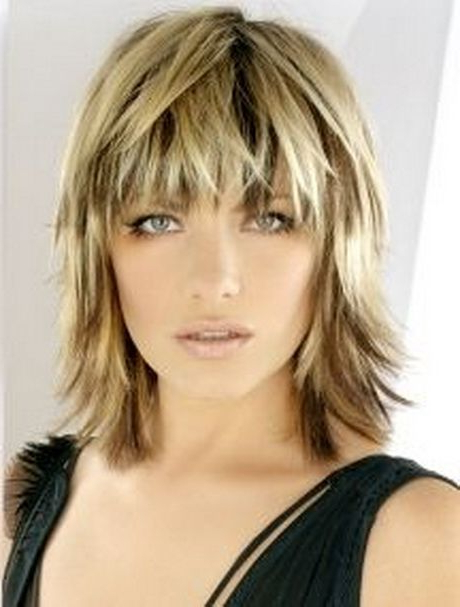 Medium Choppy Haircuts | Blonde Medium Length Choppy Shag Haircut Within Long Length Hairstyles With Fringe (View 22 of 25)