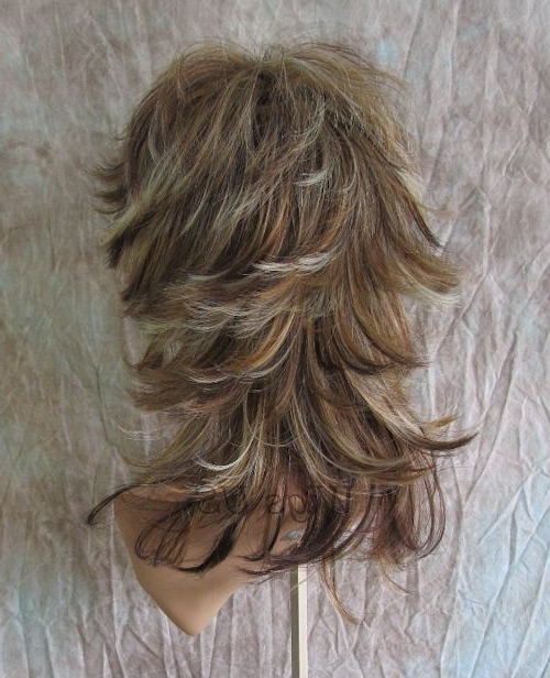 Medium Wig Auburn Blonde Mix Wavy Multi Layers Choppy Bangs Wigs In Multi Layered Mix Long Hairstyles (View 14 of 25)