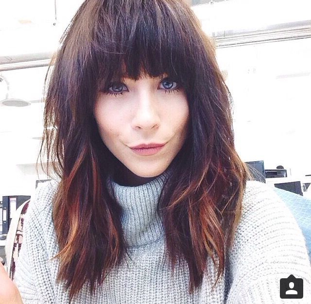 Meg From Asos Got The Balyage Enhancer From Amy To A Winter Warm Pertaining To Long Hairstyles With Full Fringe (View 10 of 25)
