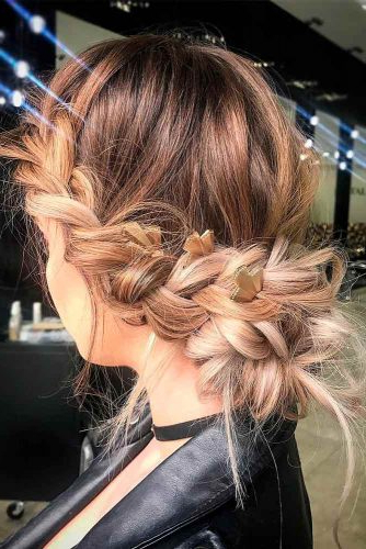 Messy Bun For Prom Hairstyle Throughout Fishtailed Snail Bun Prom Hairstyles (View 13 of 25)