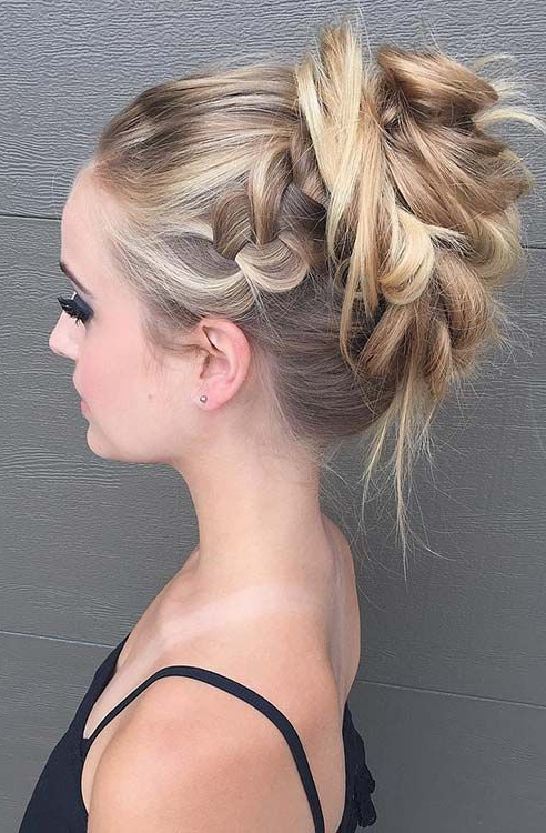 Messy High Bun Updo Prom Haircuts | Once Upon A Malone? | Thin Throughout Messy High Bun Prom Updos (View 9 of 25)