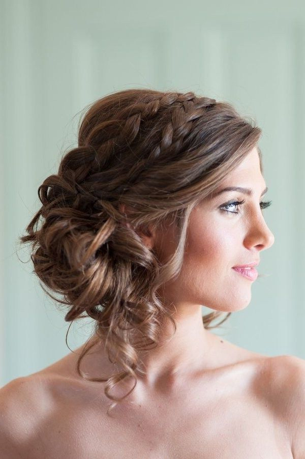 Messy Side Bun With Double Braid #wedding #updo #pretty | Hairstyles Intended For Double Twist And Curls To One Side Prom Hairstyles (View 2 of 25)