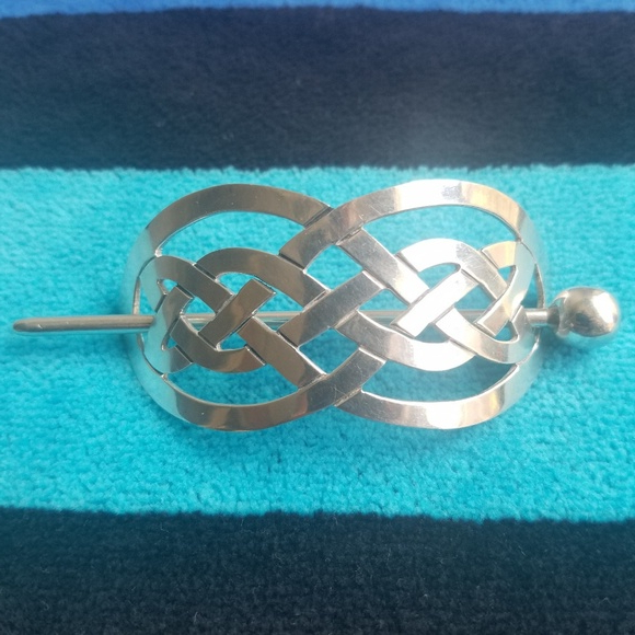 Mexico Accessories   Sterling Silver Hair Clip Fancy Basket Weave W Intended For Jewelled Basket Weave Prom Updos (View 21 of 25)
