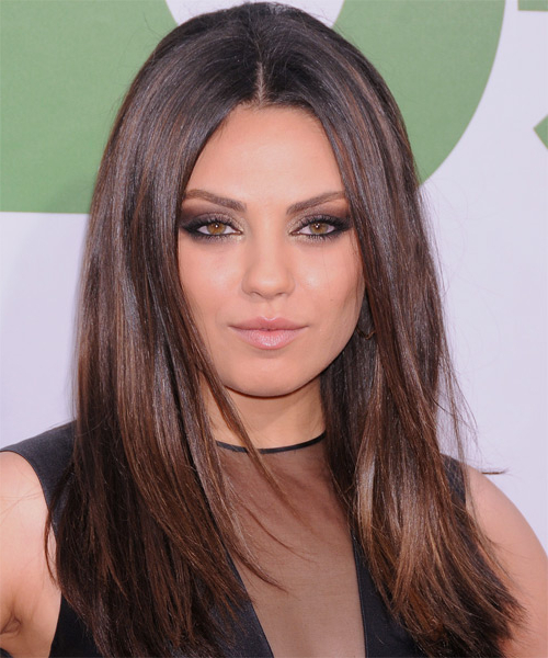 Mila Kunis Casual Long Straight Hairstyle – Dark Chocolate Brunette Throughout Mila Kunis Long Hairstyles (View 7 of 25)