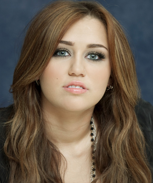 Miley Cyrus Casual Long Wavy Hairstyle – Light Brunette Hair Color Inside Miley Cyrus Long Hairstyles (View 12 of 25)