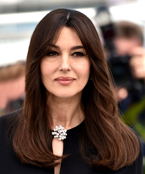 Monica Bellucci Casual Long Straight Hairstyle – Dark Brunette Hair Within Long Hairstyles Dark Brown (View 22 of 25)