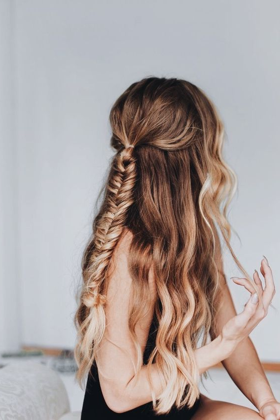 Natural Wavy Hair – Fishtail Braid – Long Hairstyles – Half Up With Long Hairstyles Naturally Wavy Hair (View 21 of 25)