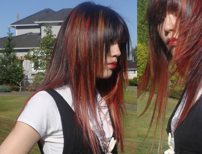 New J Rock Japanese Dyed Hairstyle: Red And Blonde Streaks, Straight For Long Layered Japanese Hairstyles (View 19 of 25)