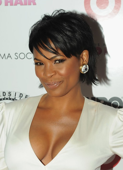 Nia Long Short Straight Black Haircut With Bangs For Black Women pertaining to Nia Long Hairstyles