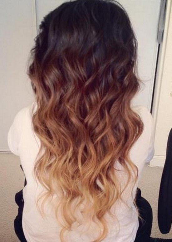 Ombre Hair Color Idea: Brown To Golden Blonde Wavy Dip Dye Cascade Pertaining To Curly Golden Brown Balayage Long Hairstyles (View 25 of 25)