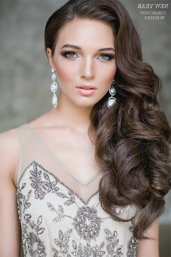 One Side Half Up Wavy Wedding Hairstyle For Long Hair | Deer Pearl inside Long Hairstyles To One Side