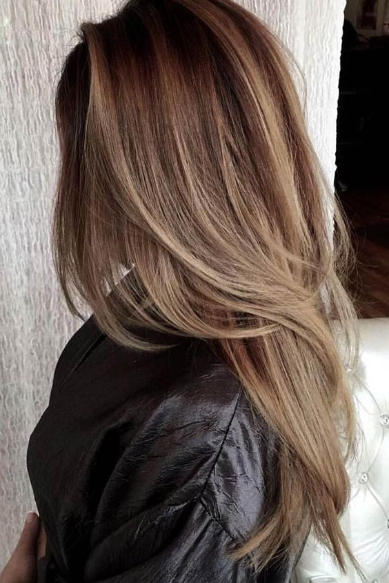 Picture Of A Chic Long Layered Haircut With Balayage And A Darker With Regard To Balayage Hairstyles For Long Layers (View 8 of 25)