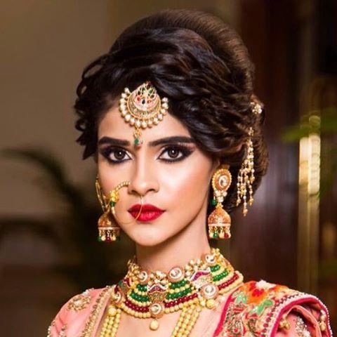 Pinwish N Wed On Bridal Hairstyles In 2019 | Indian Bridal Within Indian Wedding Long Hairstyles (View 6 of 25)