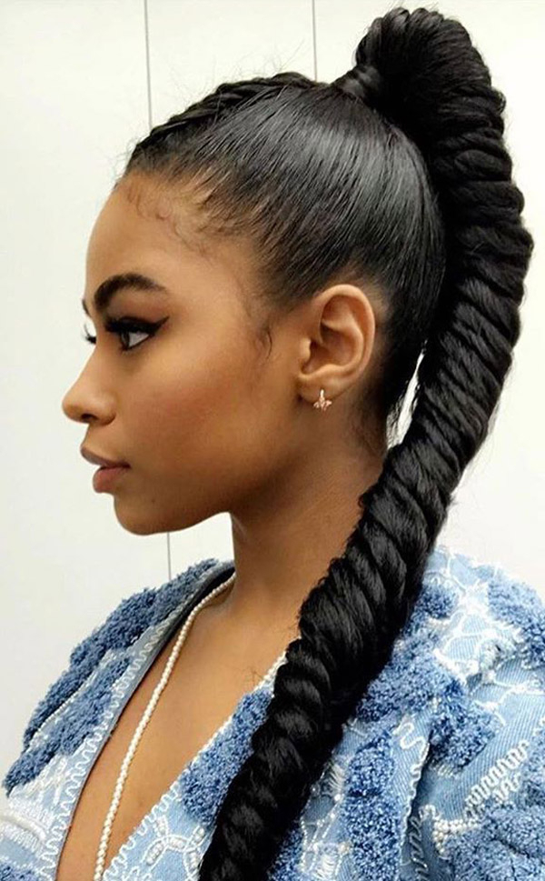 Ponytail Hairstyles For Black Women – Evesteps Pertaining To Long Hairstyles In A Ponytail (View 22 of 25)
