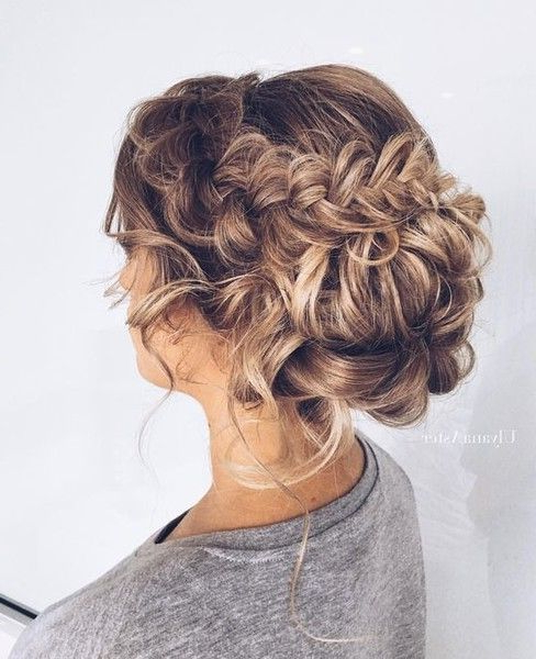 Pretty Braided Bun | Hair Styles | Curly Hair Styles, Hair Styles In Big Curly Bun Prom Updos (View 5 of 25)