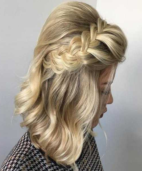 Prom Hairstyles For Short Hairs Intended For Diagonal Braid And Loose Bun Hairstyles For Prom (View 7 of 25)