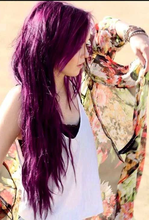 Purple Long Hairstyle For The Summer #hair #longhair #purplehair For Purple Long Hairstyles (View 19 of 25)