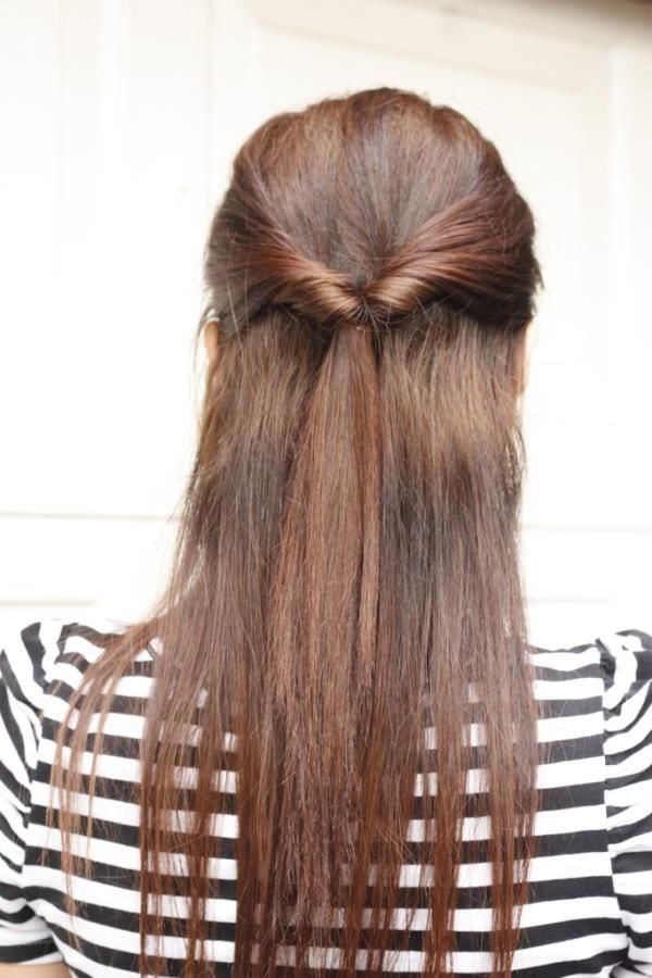 Quick Half Up Style For Long Straight Hair Tiedtwisting In Two With Half Up Hairstyles For Long Straight Hair (Gallery 8 of 25)