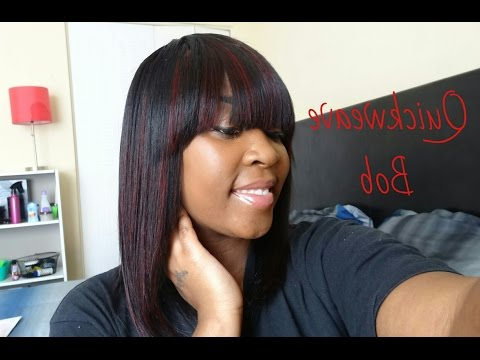 Quickweave Bob With Bang – Youtube Throughout Long Bob Hairstyles With Bangs Weave (Gallery 21 of 25)