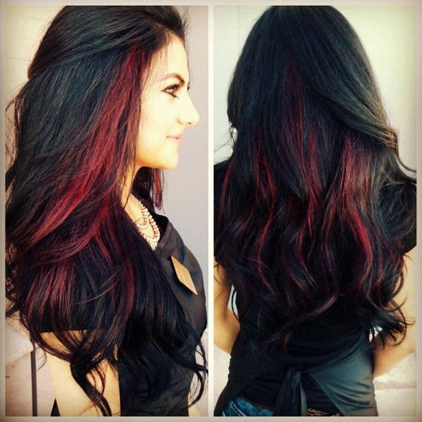 Red And Black Long Hairstyles And Red Highlights For Black Hair – 12 Pertaining To Long Hairstyles Red Highlights (View 4 of 25)