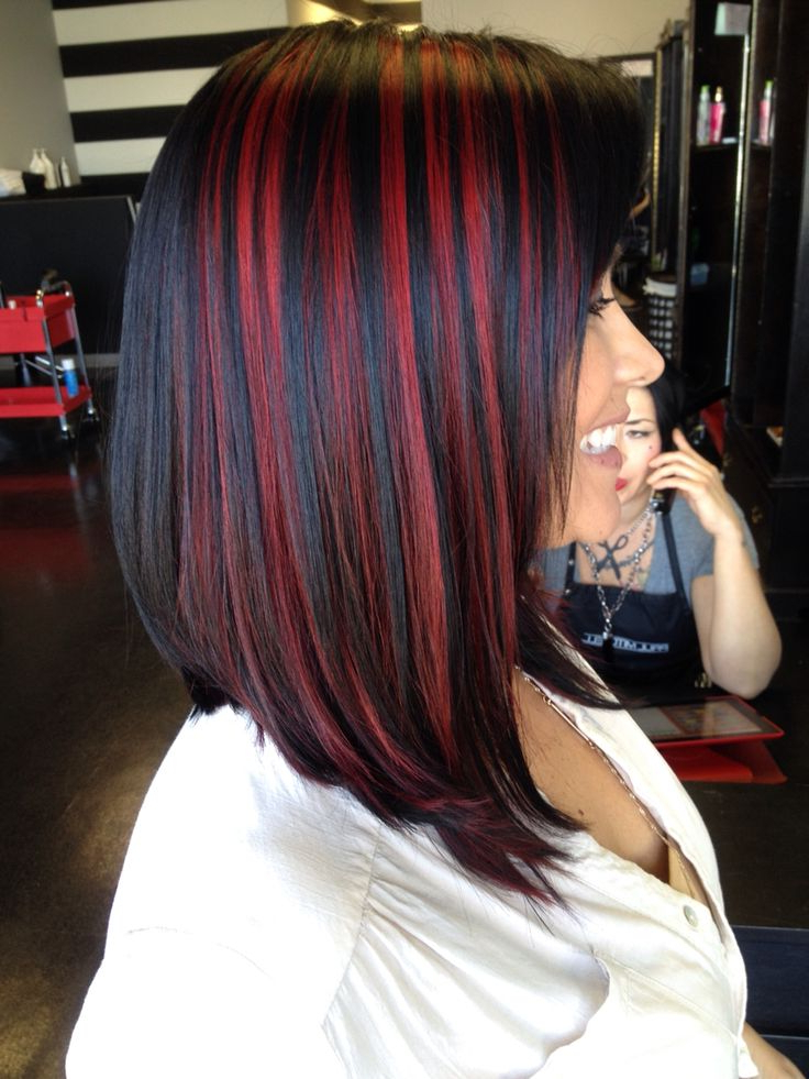 Reddish Brown Highlights On Black Hair Throughout Long Hairstyles Red Highlights (View 19 of 25)