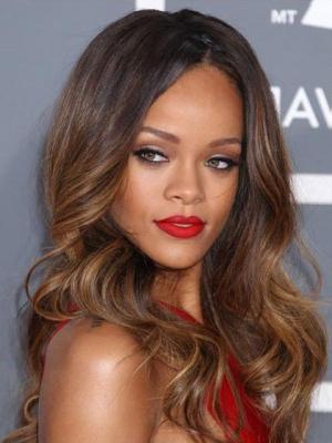 Rihanna Dip Dye Hairstyle Long Wavy Glueless Lace Wig, Tangled Wig Regarding Long Hairstyles Dip Dye (View 9 of 25)