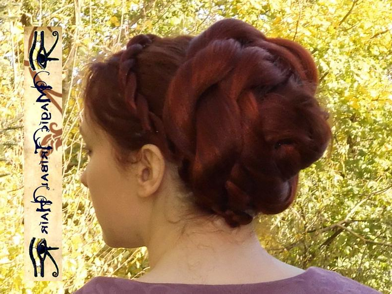 Rose Hair Bun Renaissance Hair Piece Custom Color Chignon Updo | Etsy Throughout Twisting Braided Prom Updos (View 20 of 25)