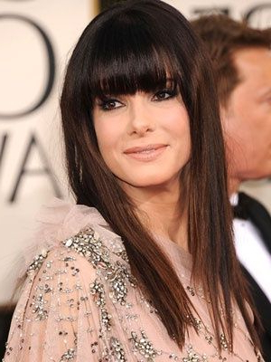 Sandra Bullock's Medium Length Hairstyle With Bangs | #bangs In Long Hairstyles For Dark Hair (View 15 of 25)
