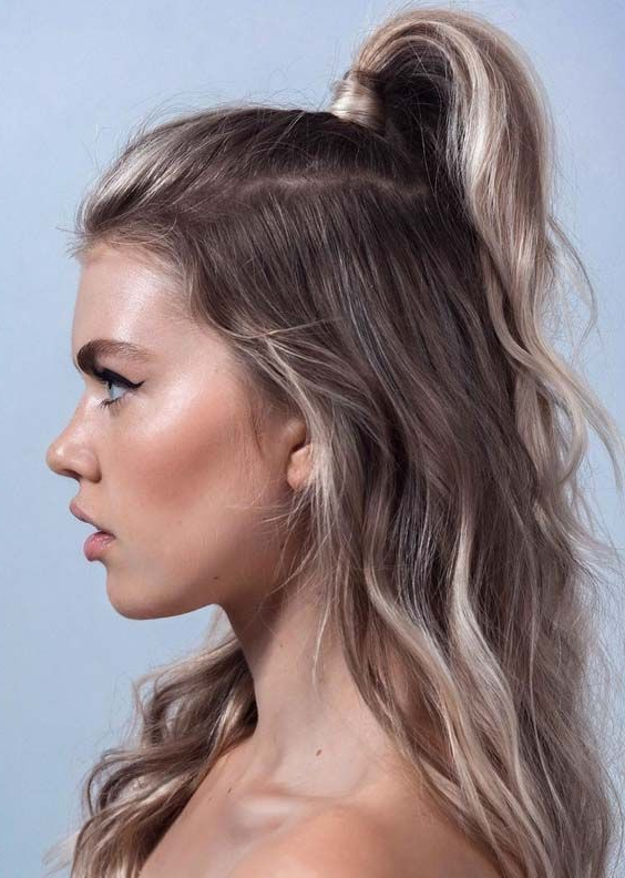 Sensational Half Up Half Down Hairstyles Trends For Women To Wear In Within Long Hairstyles Up And Down (View 25 of 25)