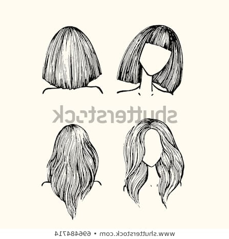 Set Hairstyles Front View Back View Stock Vector (Royalty Free Regarding Long Hairstyles Front And Back View (View 25 of 25)