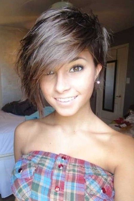 Short Hair One Side Long On The Other – Google Search | Hair | Short With One Side Short One Side Long Hairstyles (View 14 of 25)