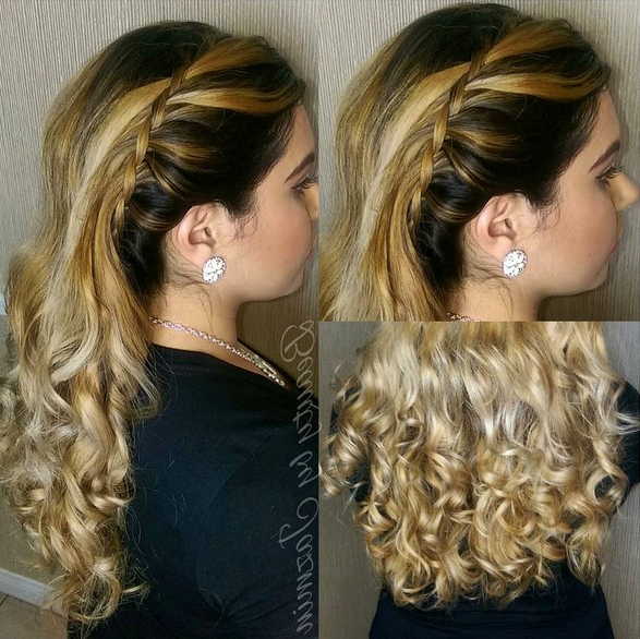 Side Waterfall Braid With Voluminous Bouncy Curls Easy Homecoming Within Long Voluminous Hairstyles (View 24 of 25)